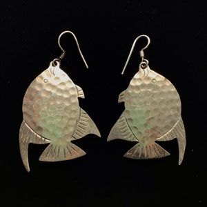 Sterling Silver Fish Disc Hammered Earrings